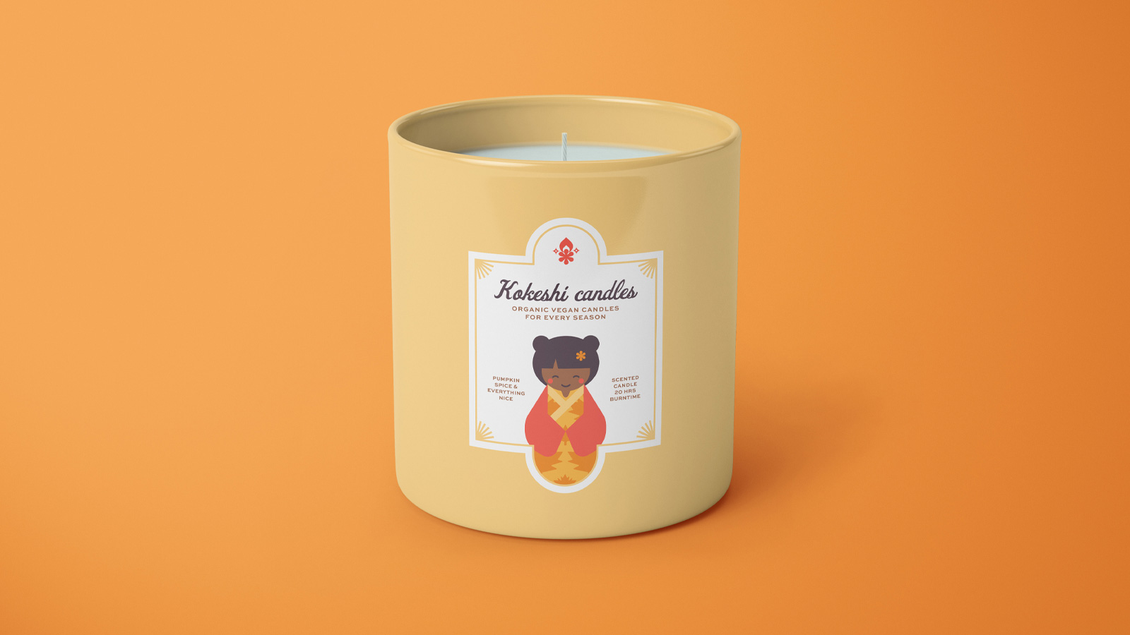 A colorful candle brand inspired by illustrations of Japanese Kokeshi Dolls and the four seasons by Haelsum
